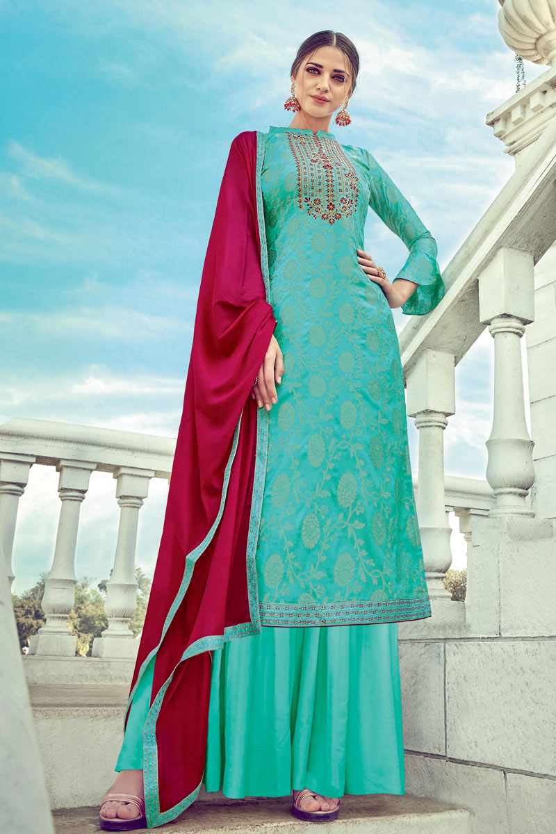 Cyan Color Occasion Wear Palazzo Suit With Embroidery Work