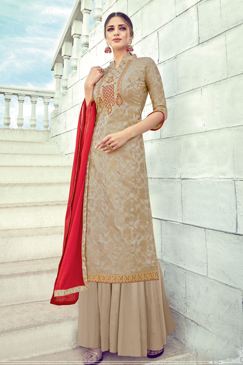 Jacquard Fabric Embroidered Designer Palazzo Suit In Beige Color