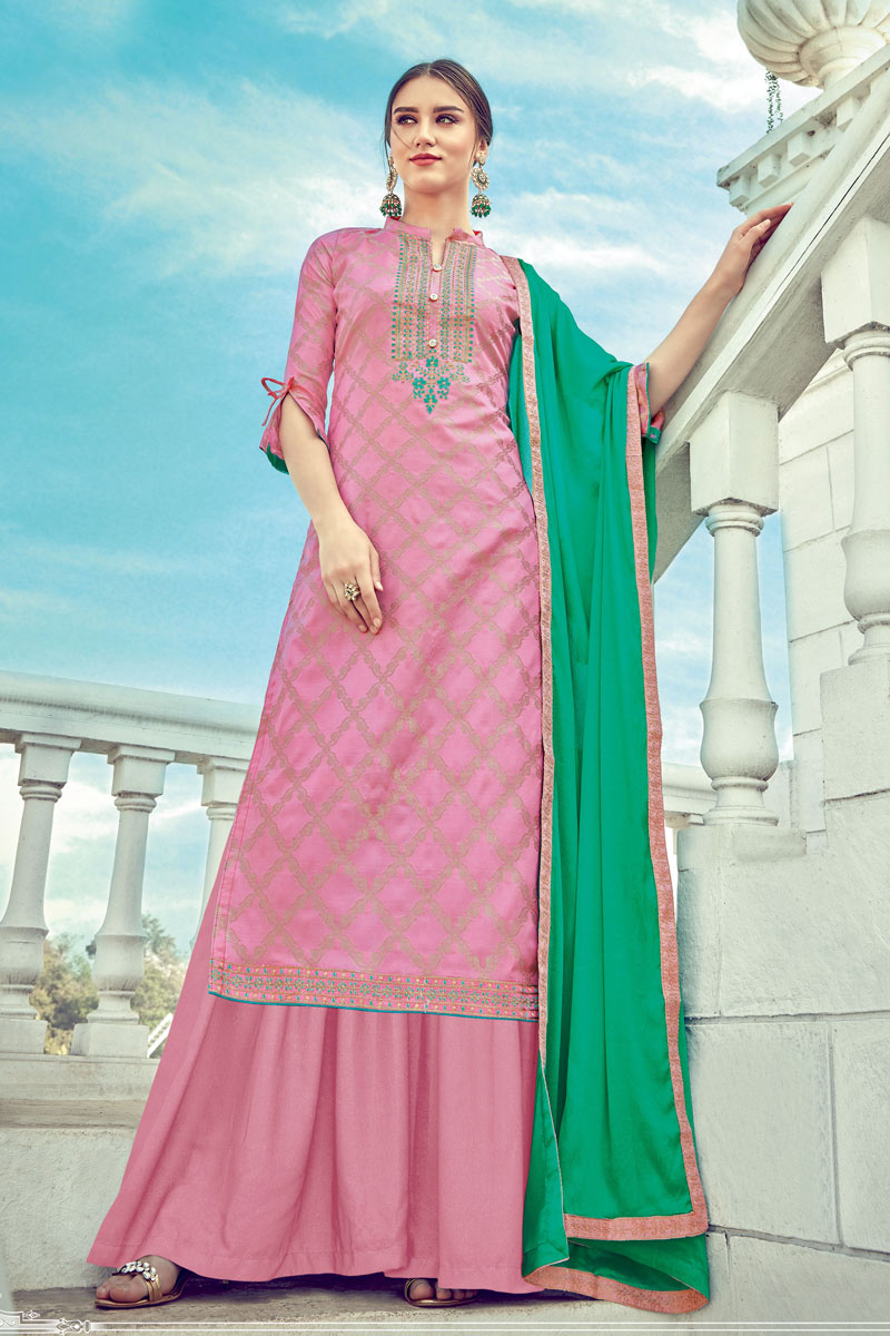 Embroidery On Pink Color Jacquard Fabric Party Wear Palazzo Dress