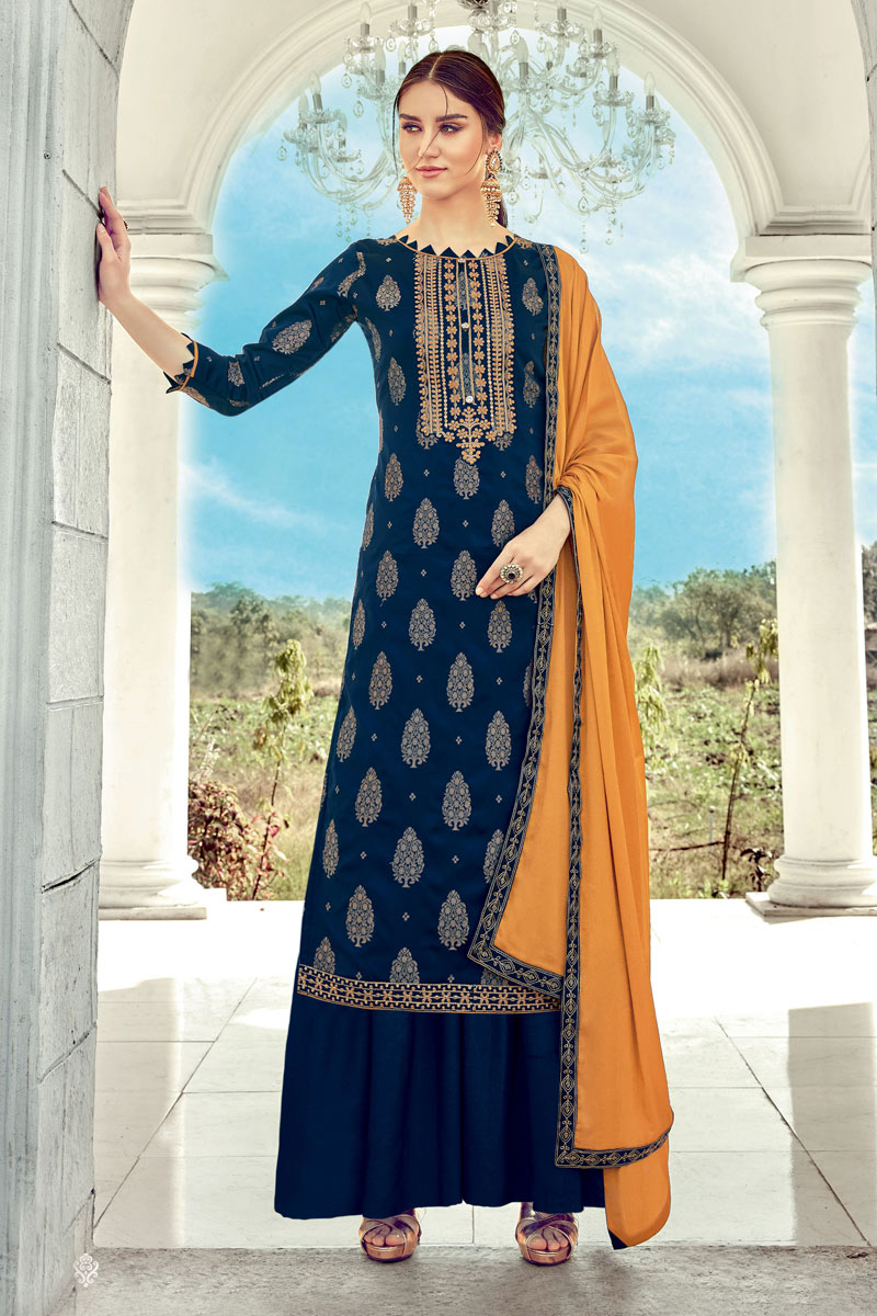 Jacquard Fabric Navy Blue Color Designer Palazzo Suit With Embroidery Designs