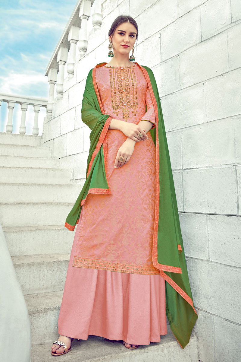 Eid Special Peach Color Embrodiered Jacquard Fabric Occasion Wear Palazzo Suit