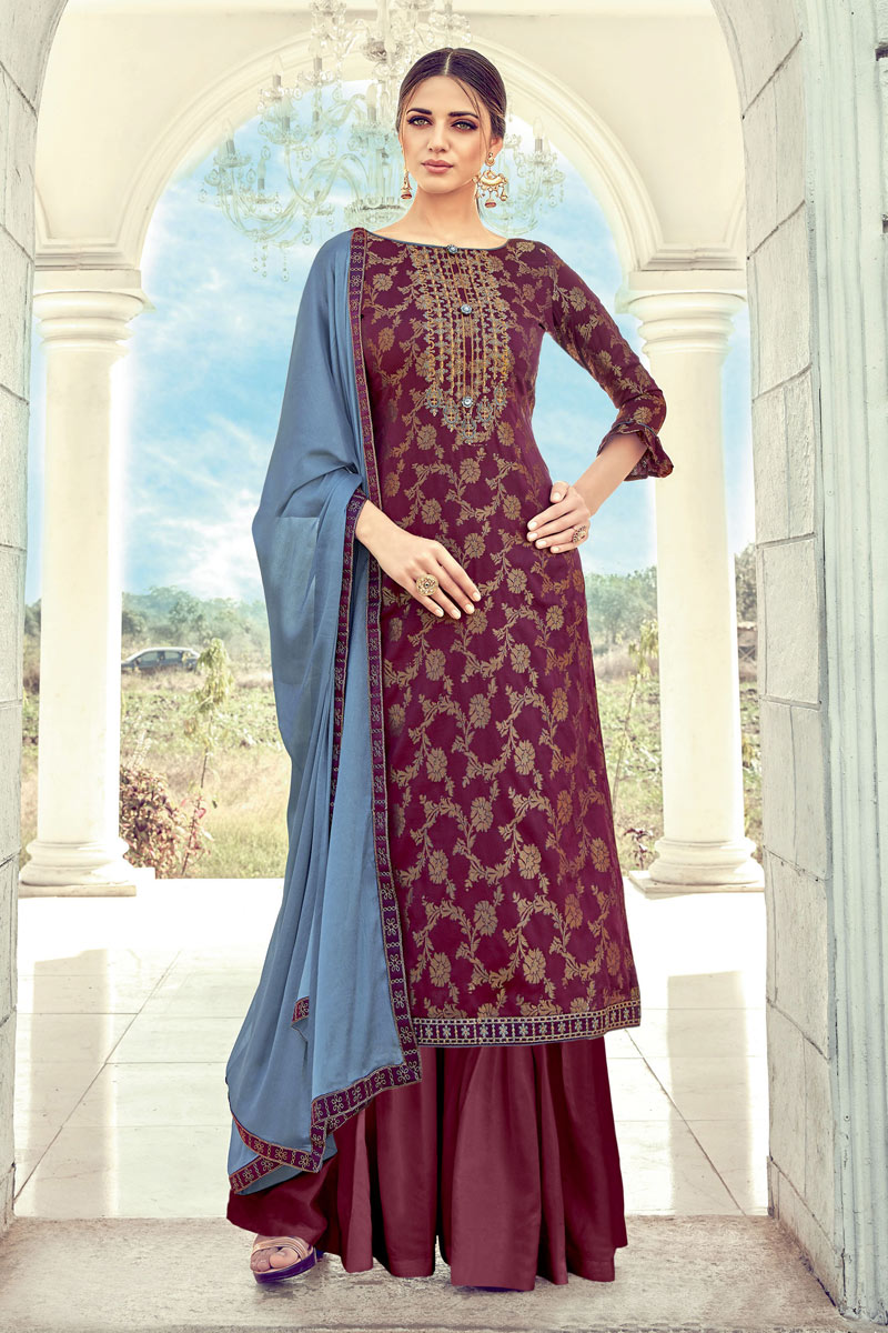 Gorgeous Jacquard Fabric Party Wear Palazzo Suit In Wine Color