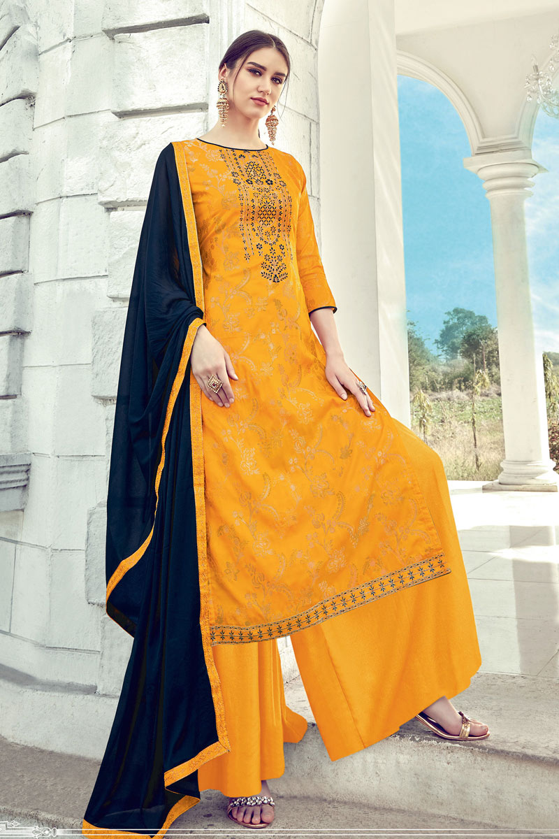 Mesmeric Yellow Color Designer Party Wear Jacquard Fabric Palazzo Suit