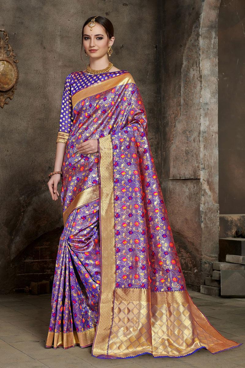 Weaving Work On Purple Color Art Silk Fabric Function Wear Saree