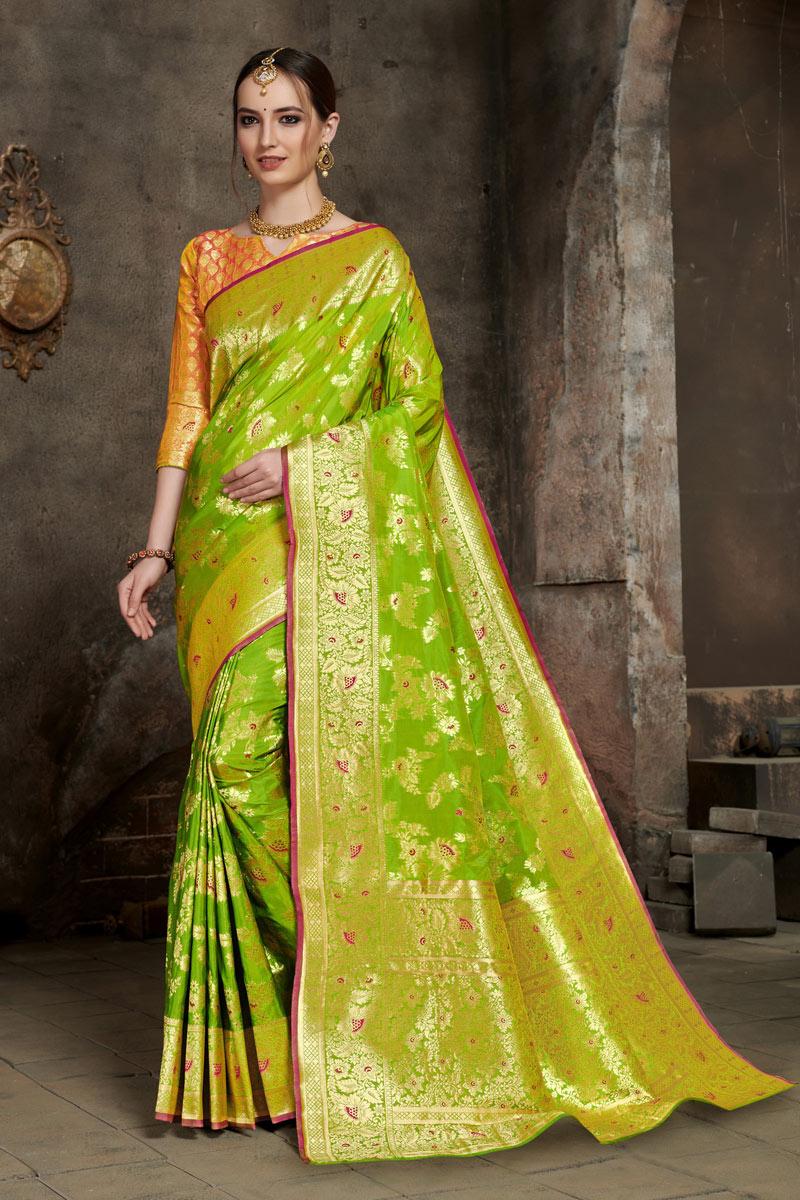 Art Silk Fabric Green Color Designer Saree With Weaving Work