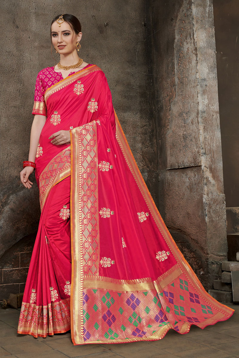 Fancy Weaving Work On Pink Color Designer Saree In Art Silk Fabric