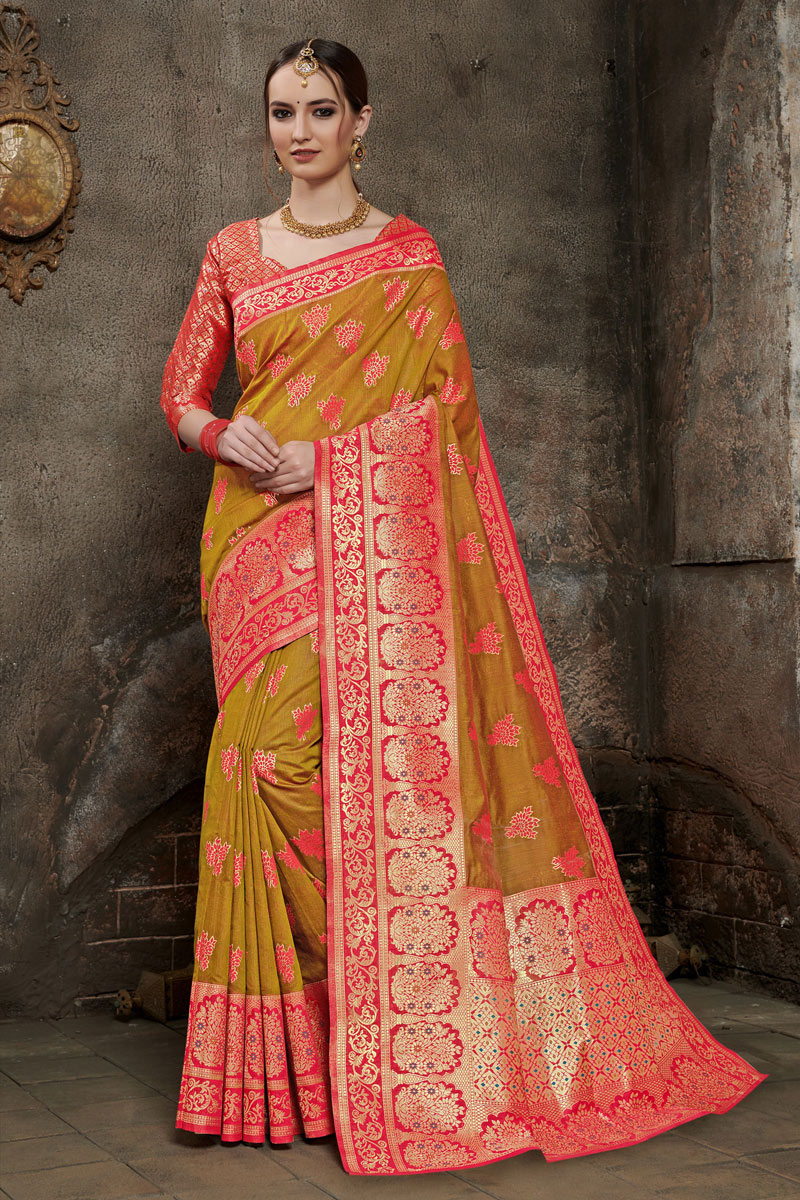 Art Silk Fabric Party Wear Saree In Golden Color With Weaving Work