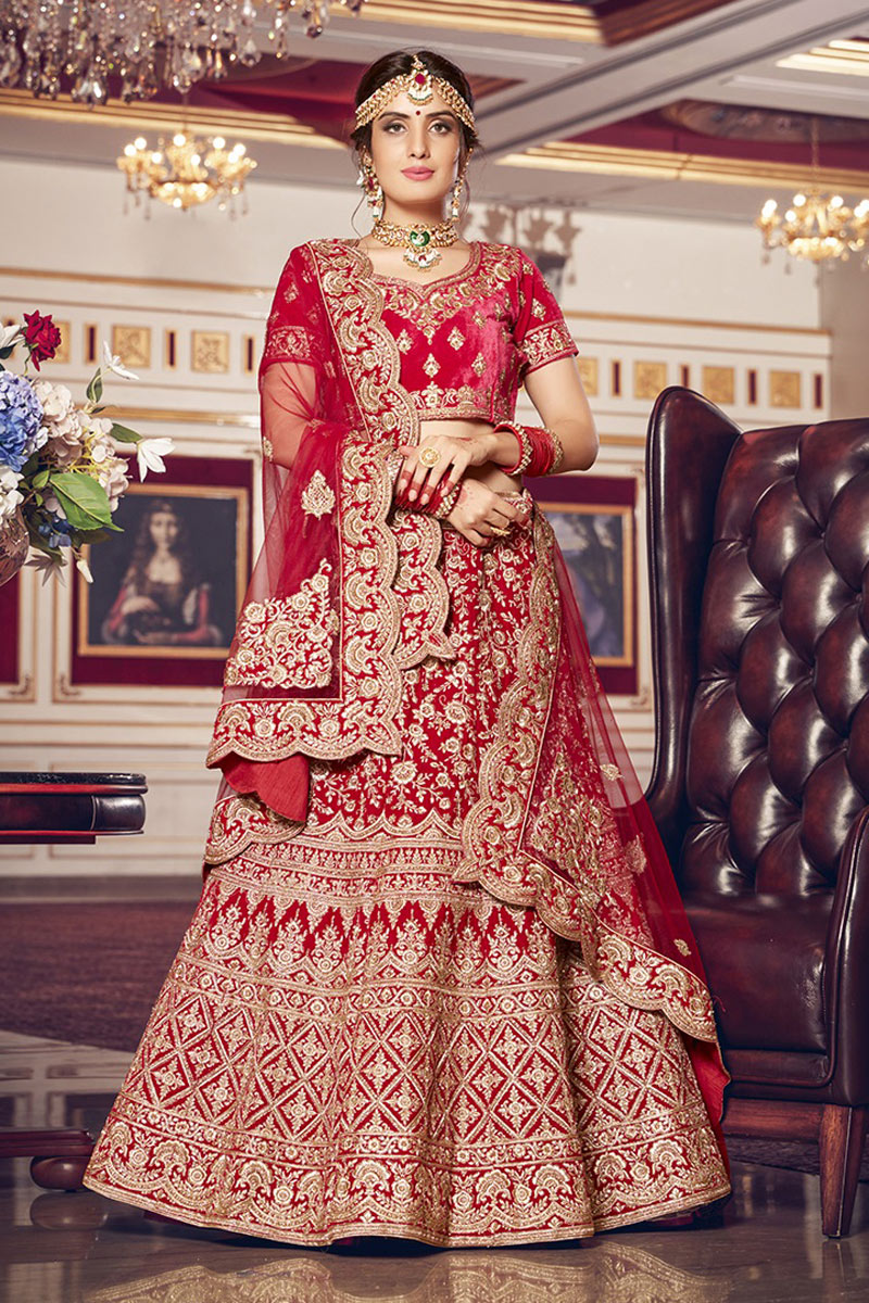 Red Color Velvet Fabric Embroidery Work Bridal Wear Lehenga Choli