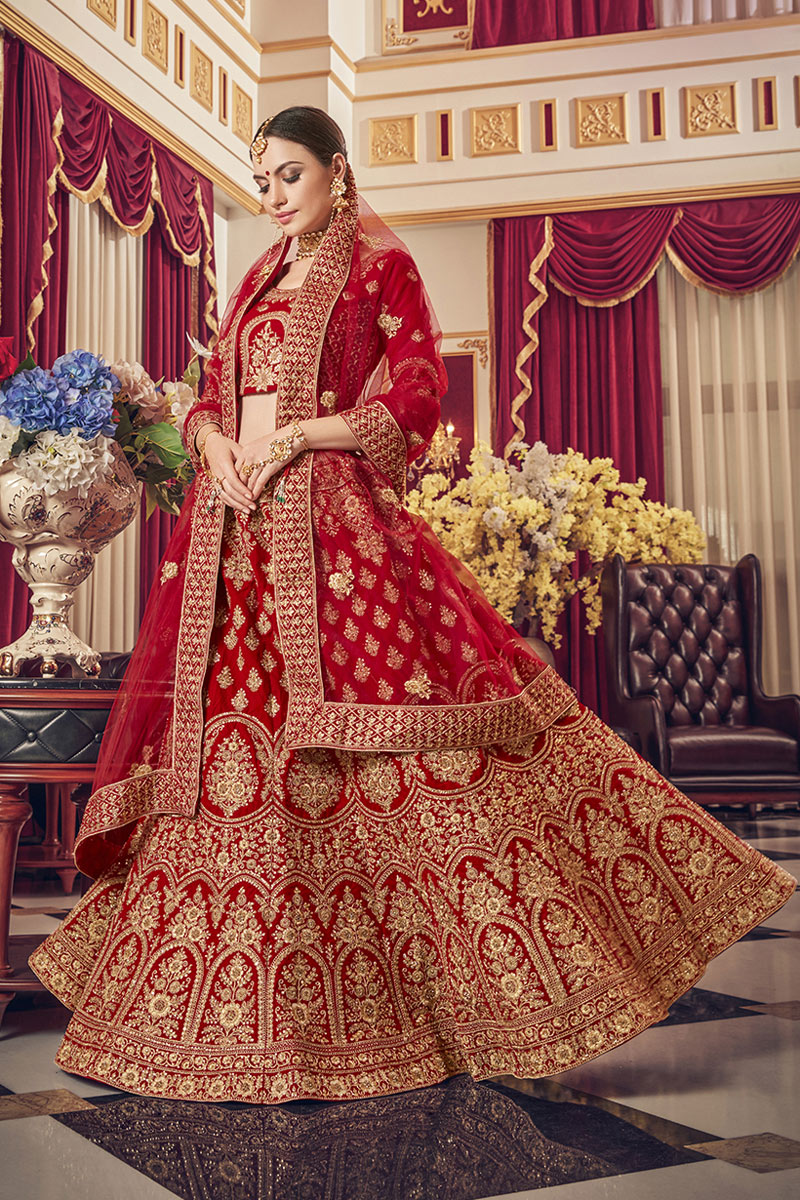 Embroidery Designs On Satin Fabric Red Color Bridal Wear Lehenga