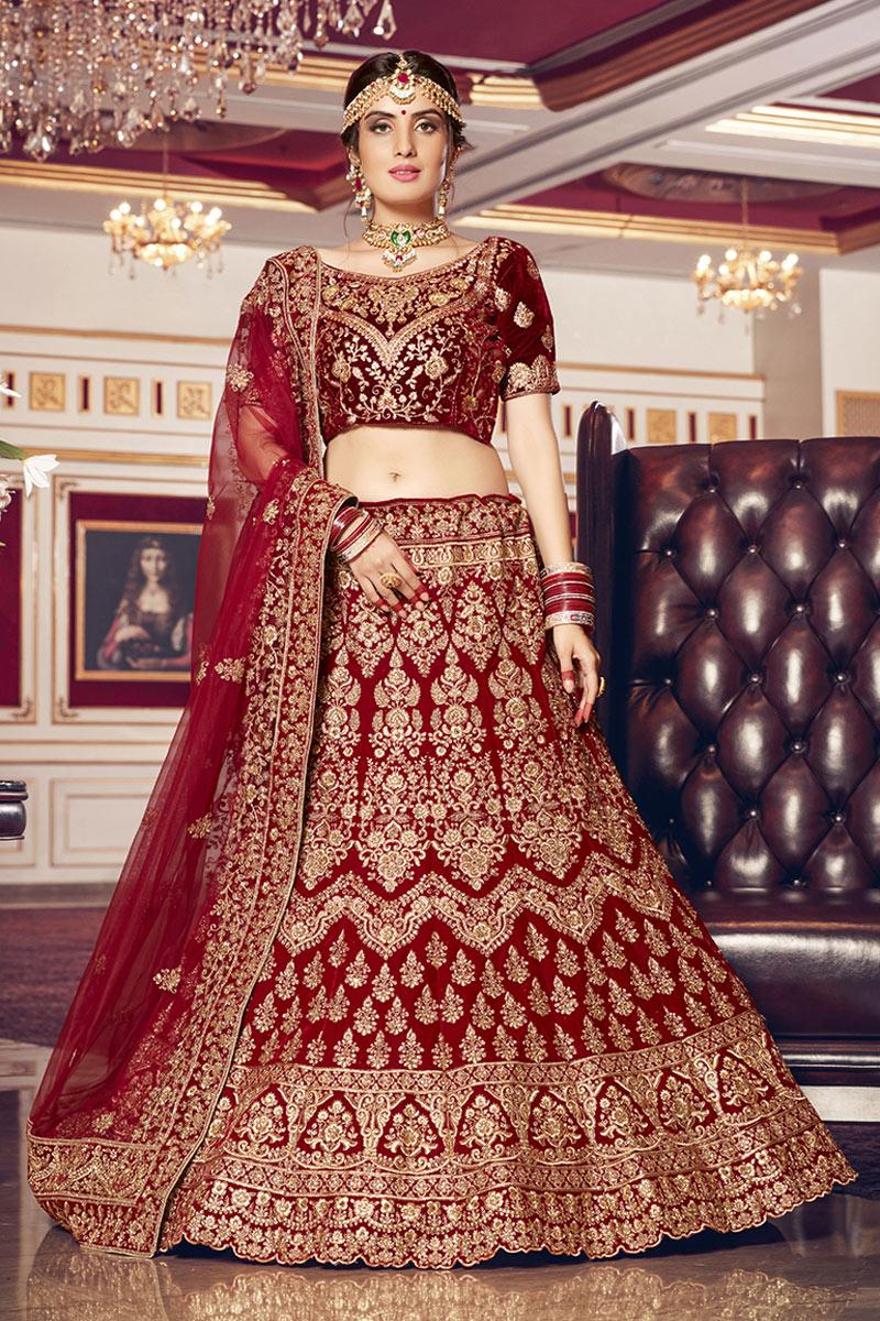 Velvet Fabric Maroon Color Bridal Wear Lehenga Choli With Embroidery Work