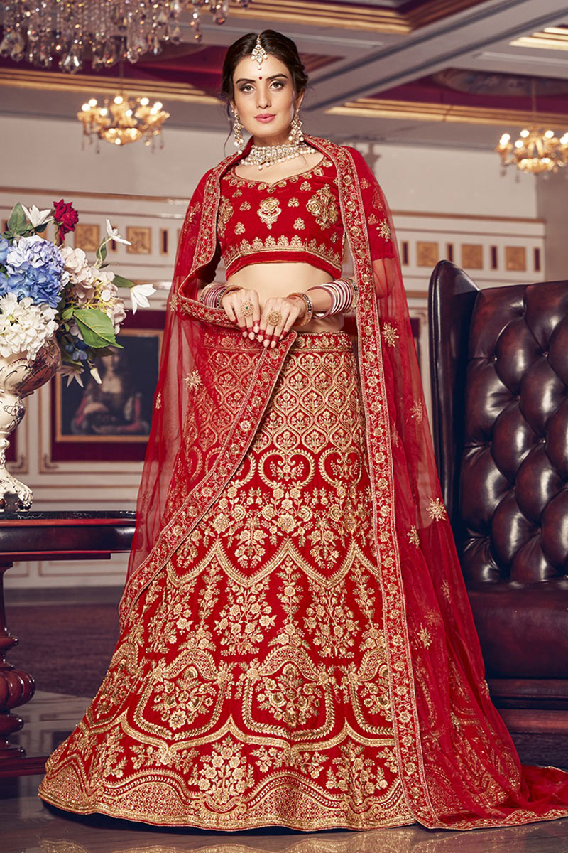 Red Color Designer Lehenga Choli With Embroidery Designs