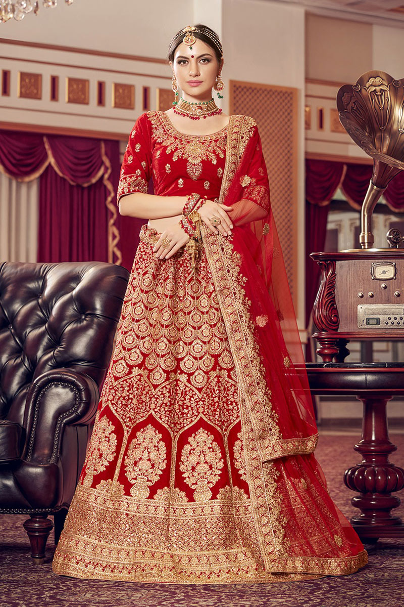 Embroidered Bridal Wear Lehenga In Red Color Velvet Fabric