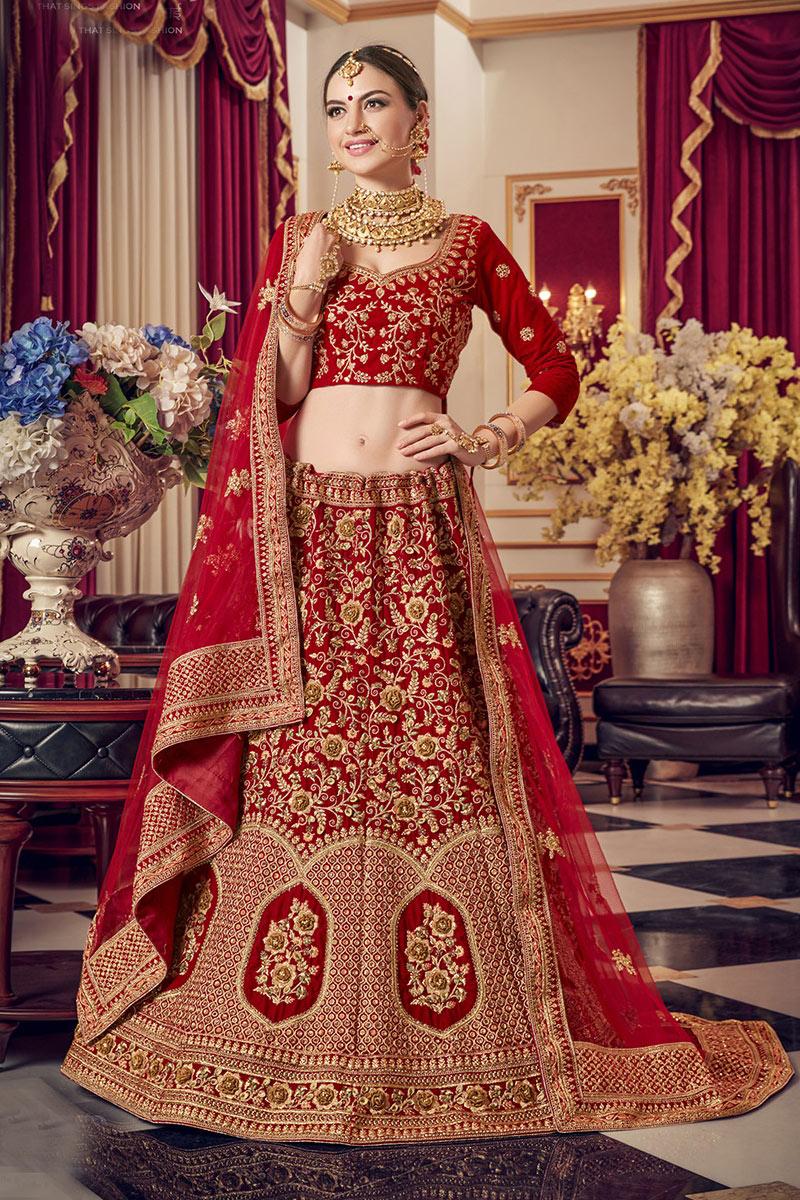 Red Color Designer Embroidered Lehenga Choli In Velvet Fabric