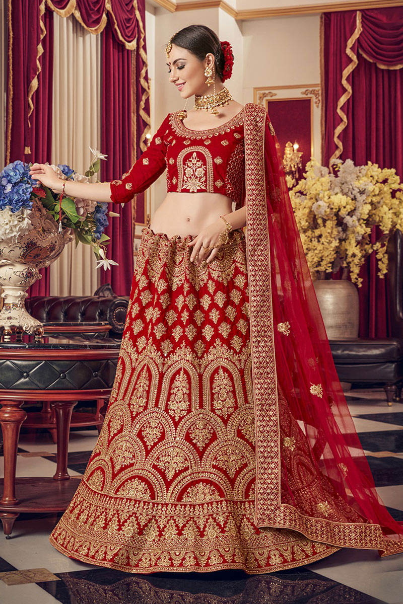 Embroidered Satin Fabric Bridal Wear Lehenga In Red Color