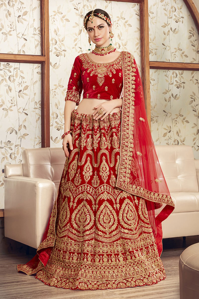 Red Color Velvet Fabric Bridal Wear Embroidered Chaniya Choli