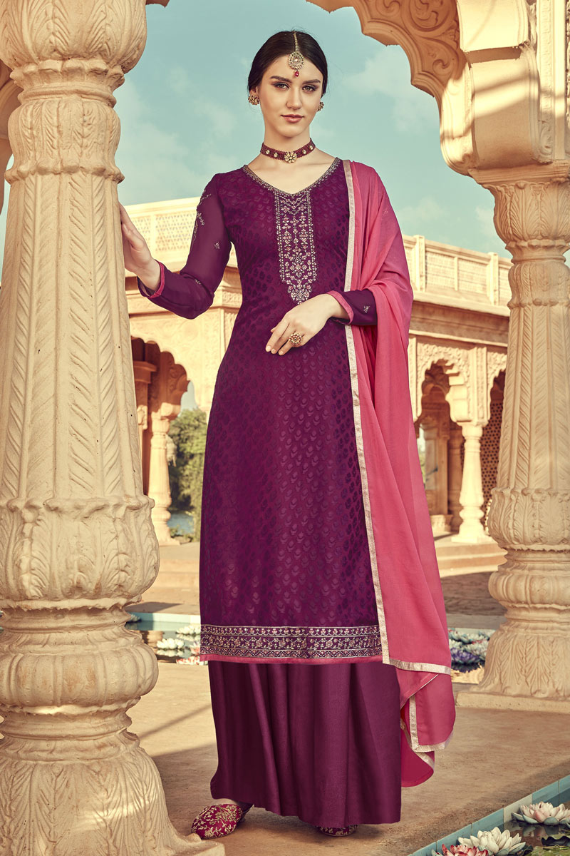 Eid Special Viscose Fabric Designer Palazzo Suit In Purple Color With Embroidery Work