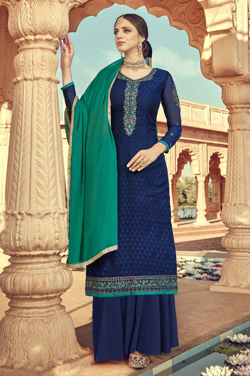 Eid Special Navy Blue Color Viscose Fabric Function Wear Palazzo Suit With Embroidery Work