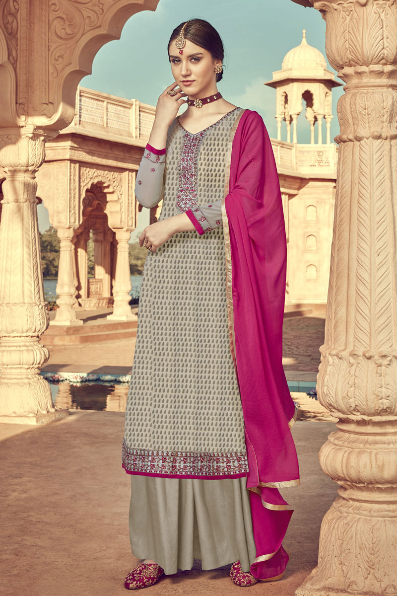 Eid Special Occasion Wear Dark Beige Color Palazzo Suit In Viscose Fabric