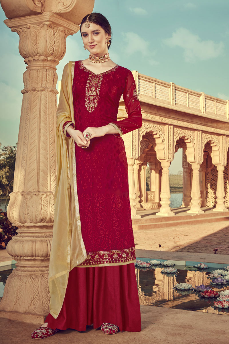Eid Special Pleasing Red Color Designer Viscose Fabric Embroidery Work Palazzo Suit