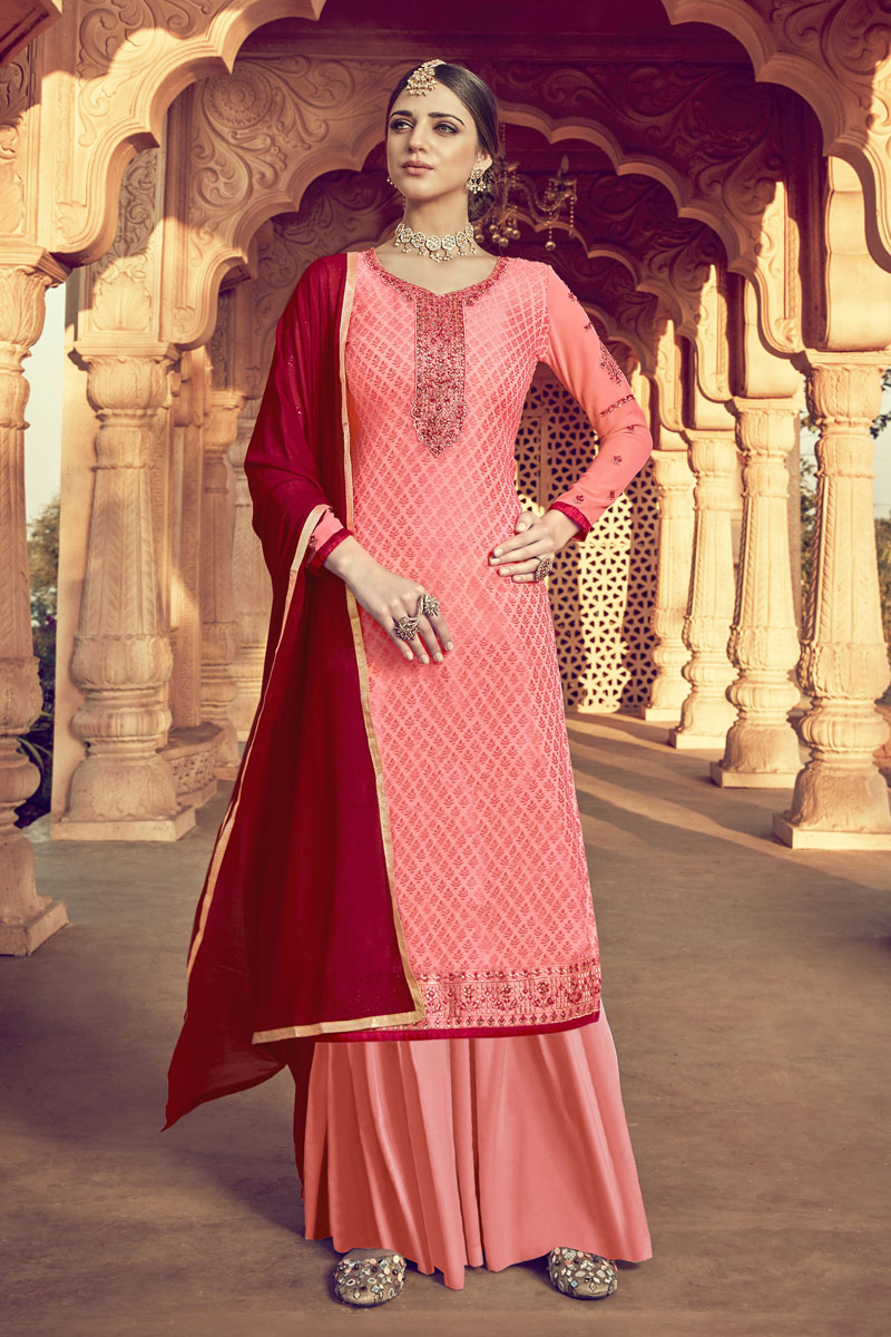 Eid Special Soothing Peach Color Designer Viscose Fabric Palazzo Salwar Kameez