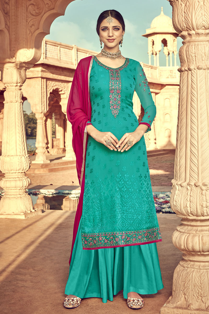 Luxurious Cyan Color Party Wear Viscose Fabric Palazzo Suit