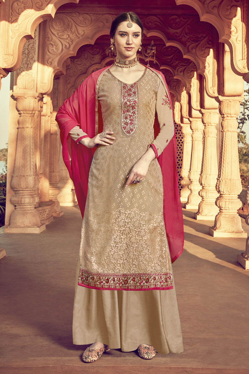 Eid Special Pleasing Beige Color Designer Viscose Fabric Embroidery Work Palazzo Suit
