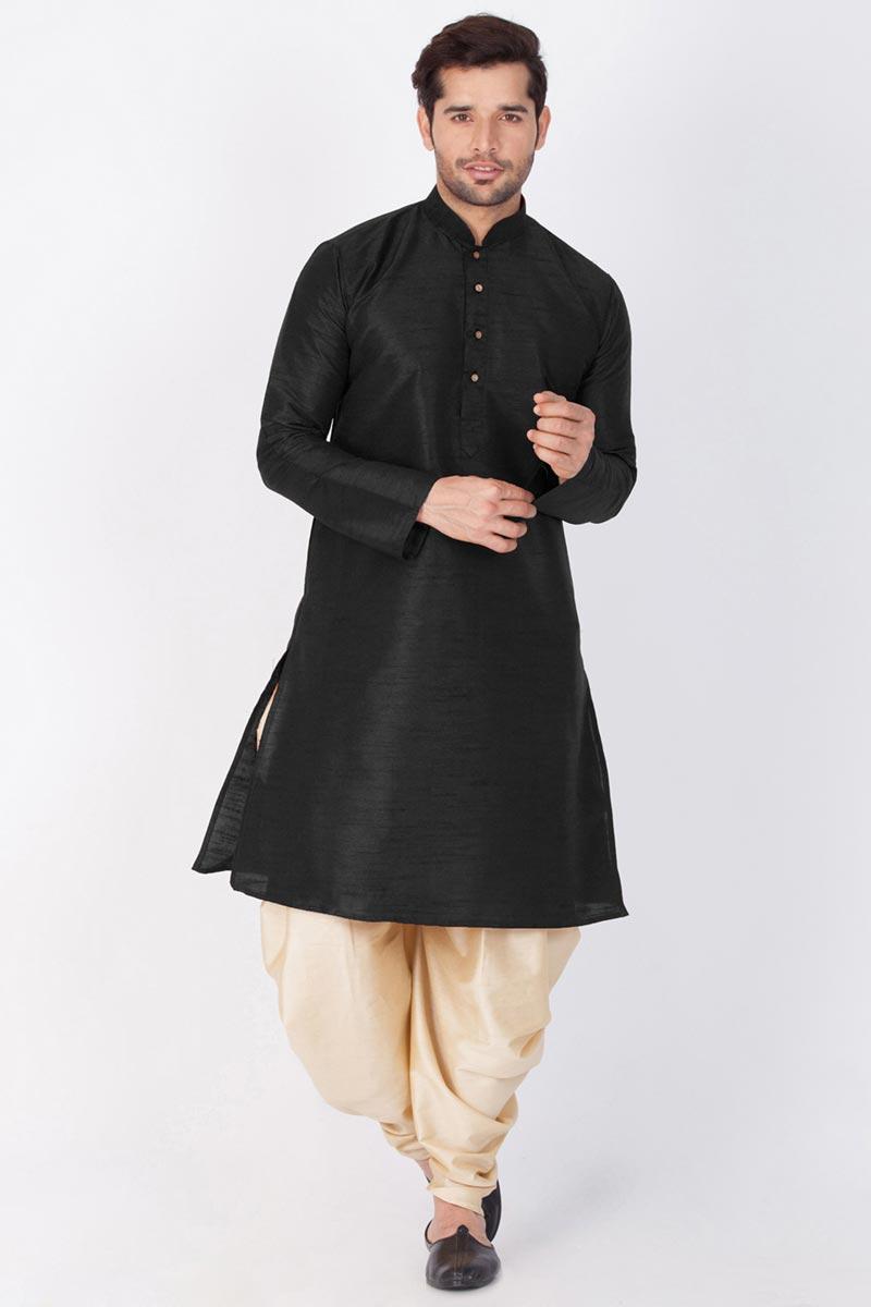 Puja Wear Dhupion Silk Fabric Kurta With Dhoti Bottom For Men In Black Color
