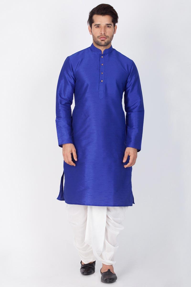 Blue Color Puja Wear Dhupion Silk Fabric Designer Kurta With Dhoti Bottom