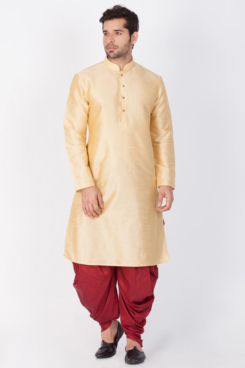 Mens Puja Wear Dhupion Silk Fabric Beige Color Kurta With Dhoti Bottom