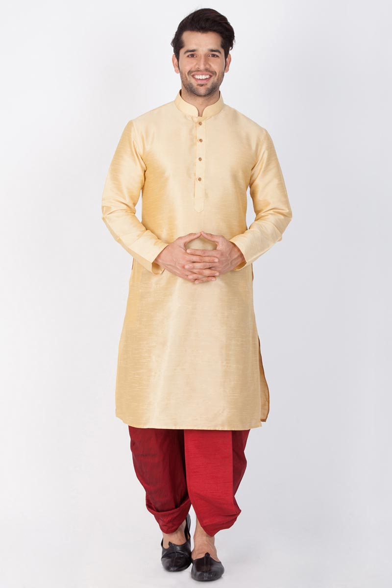 Grey Color Puja Wear Mens Kurta With Dhoti Bottom In Dhupion Silk Fabric