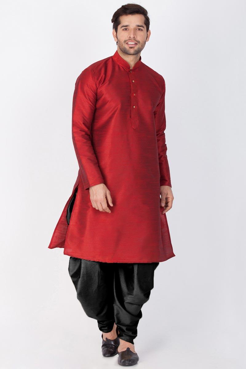 Maroon Color Mens Puja Wear Dhupion Silk Fabric Kurta With Dhoti Bottom