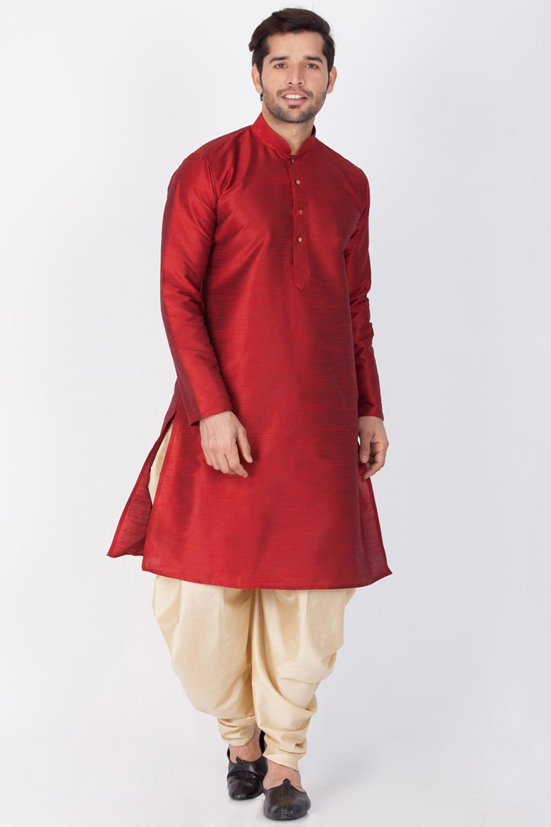 Puja Wear Maroon Color Kurta With Dhoti Bottom For Men In Dhupion Silk Fabric