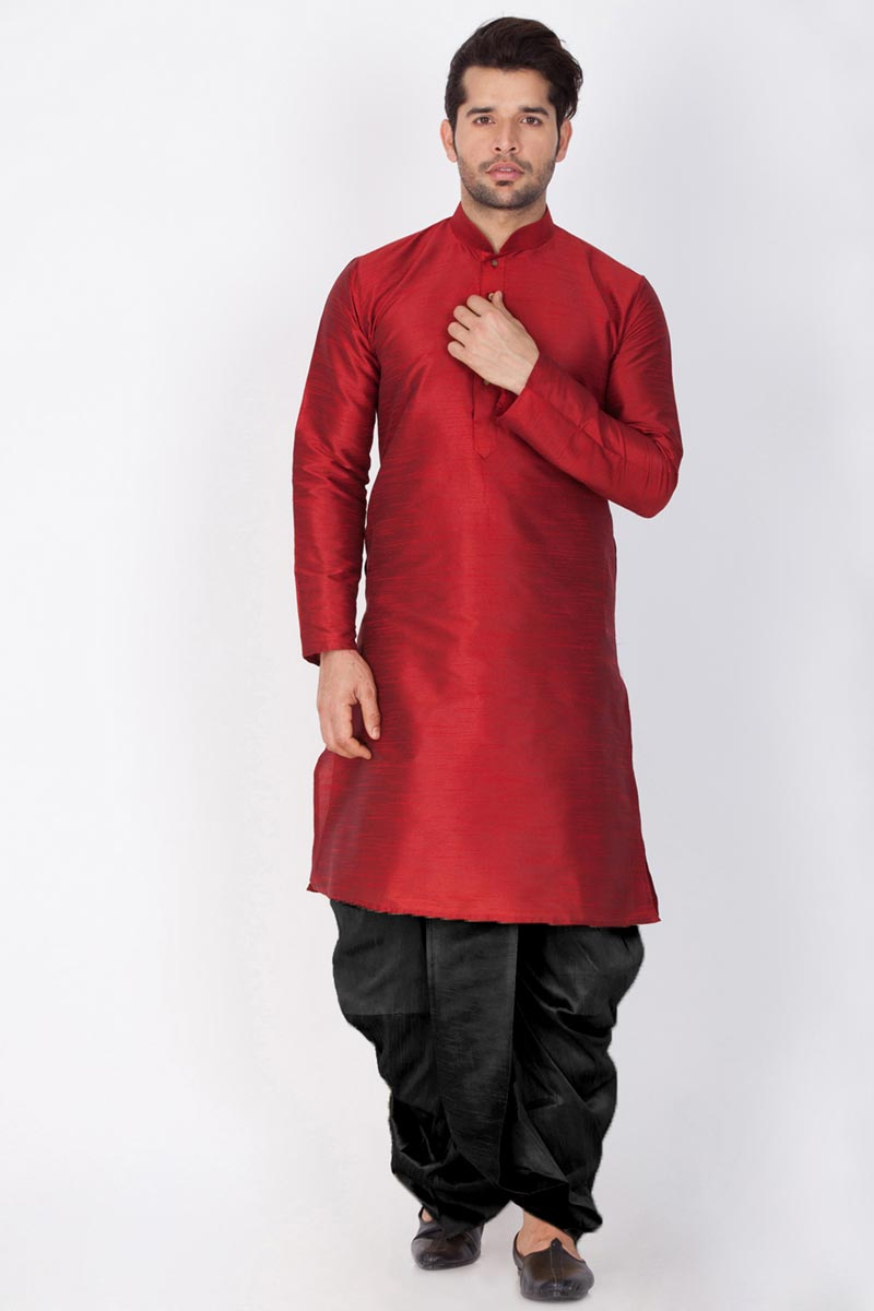 Maroon Color Dhupion Silk Fabric Puja Wear Mens Kurta With Dhoti Bottom