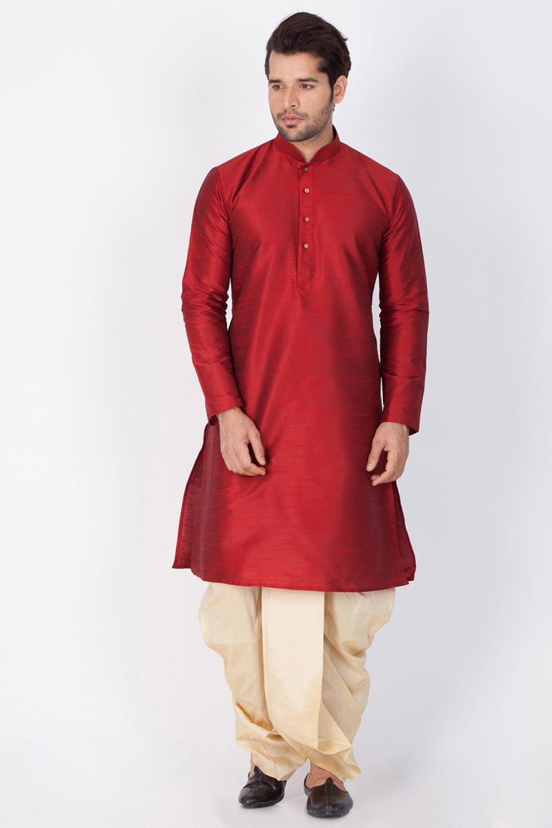 Dhupion Silk Fabric Puja Wear Maroon Color Designer Kurta With Dhoti Bottom