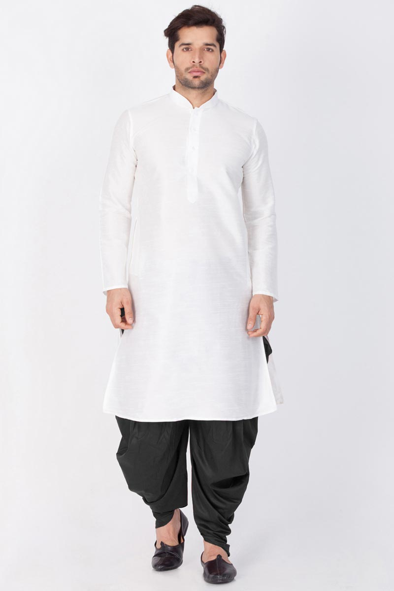 Mens Puja Wear White Color Dhupion Silk Fabric Kurta With Dhoti Bottom