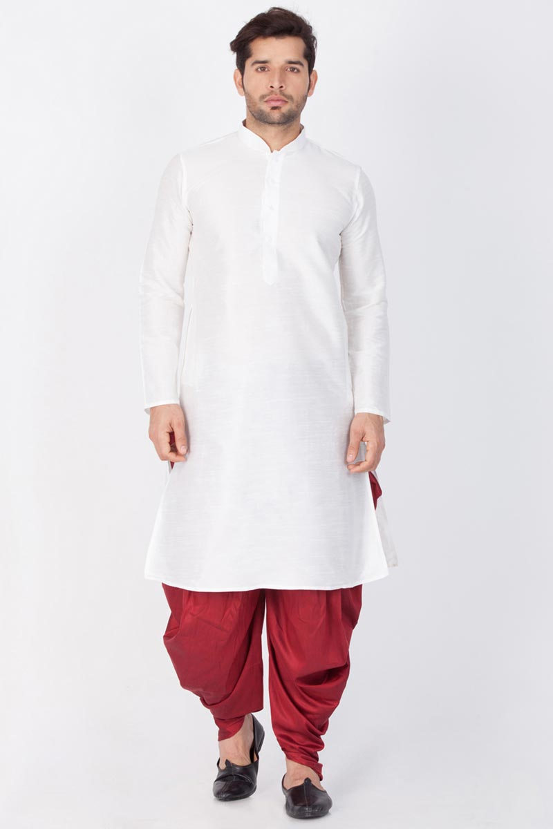 Dhupion Silk Fabric Puja Wear Mens Kurta With Dhoti Bottom In White Color