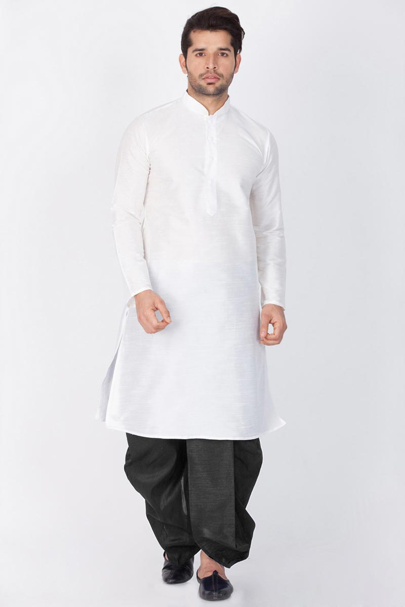 Puja Wear Dhupion Silk Fabric White Color Designer Kurta With Dhoti Bottom
