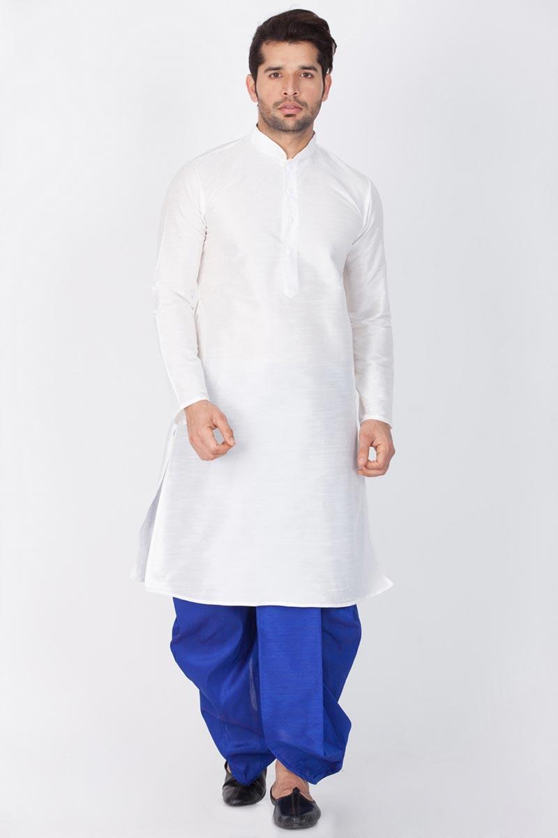 Dhupion Silk Fabric Mens Puja Wear White Color Kurta With Dhoti Bottom