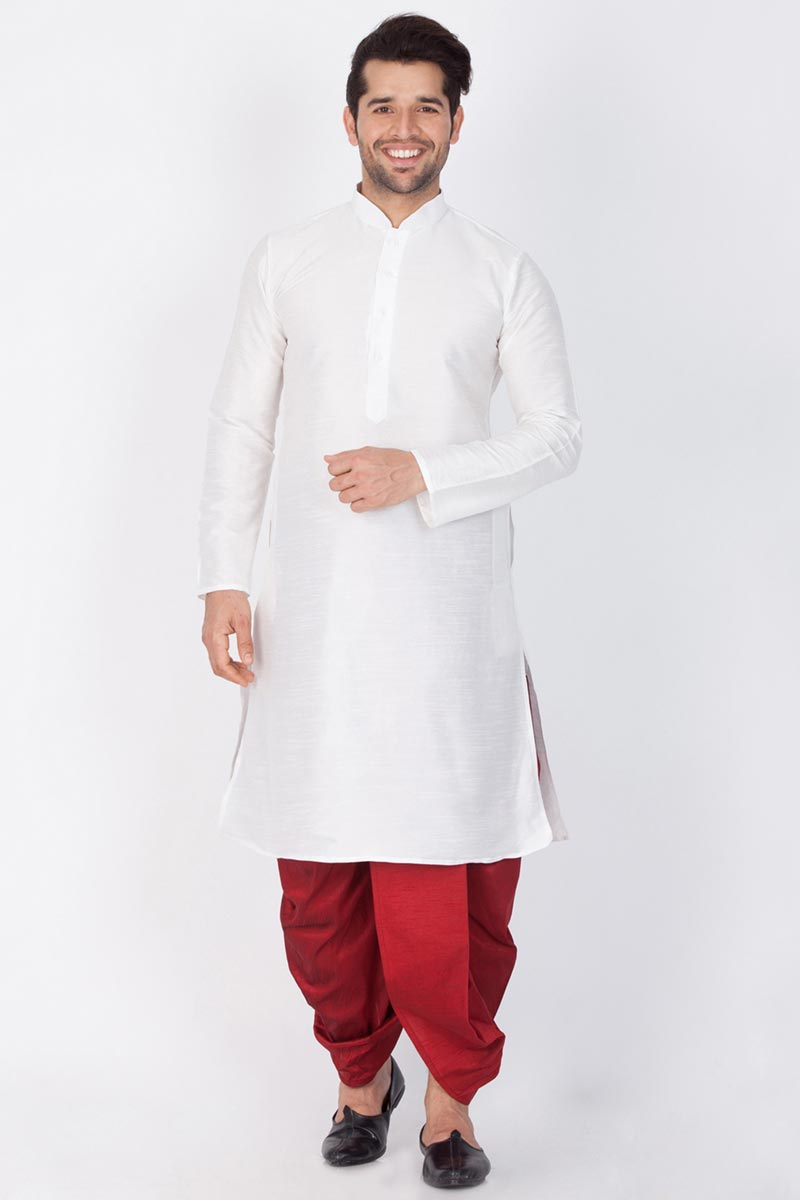 Function Wear Dhupion Silk Fabric Kurta With Dhoti Bottom For Men In White Color