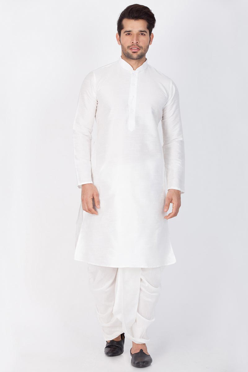 Dhupion Silk Fabric White Color Function Wear Mens Kurta With Dhoti Bottom