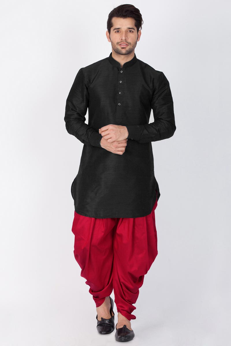 Black Color Function Wear Dhupion Silk Fabric Designer Kurta With Dhoti Bottom