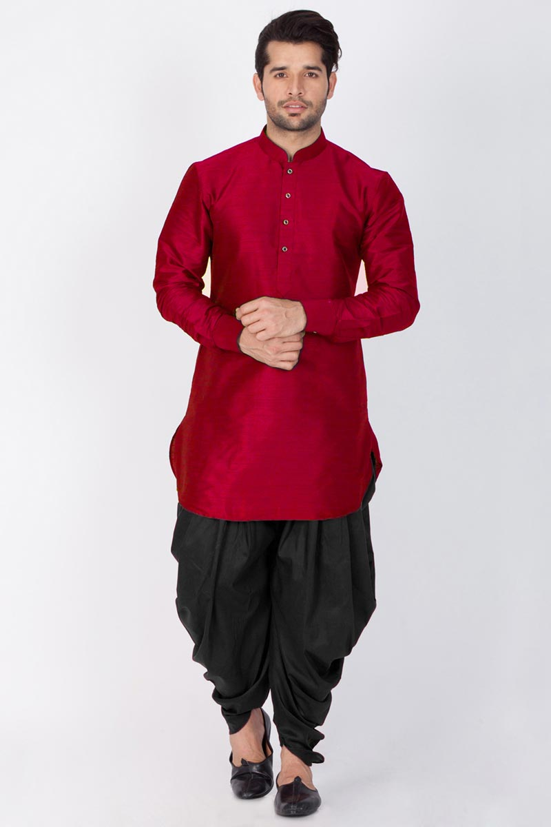 Mens Function Wear Dhupion Silk Fabric Maroon Color Kurta With Dhoti Bottom