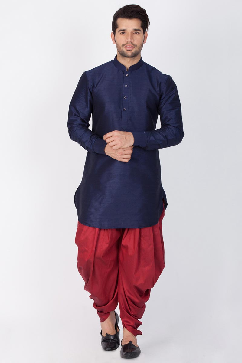 Navy Blue Color Function Wear Mens Kurta With Dhoti Bottom In Dhupion Silk Fabric
