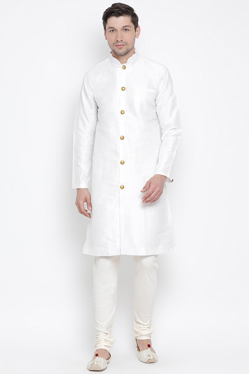Function Wear White Color Dhupion Silk Fabric Designer Kurta Pyjama