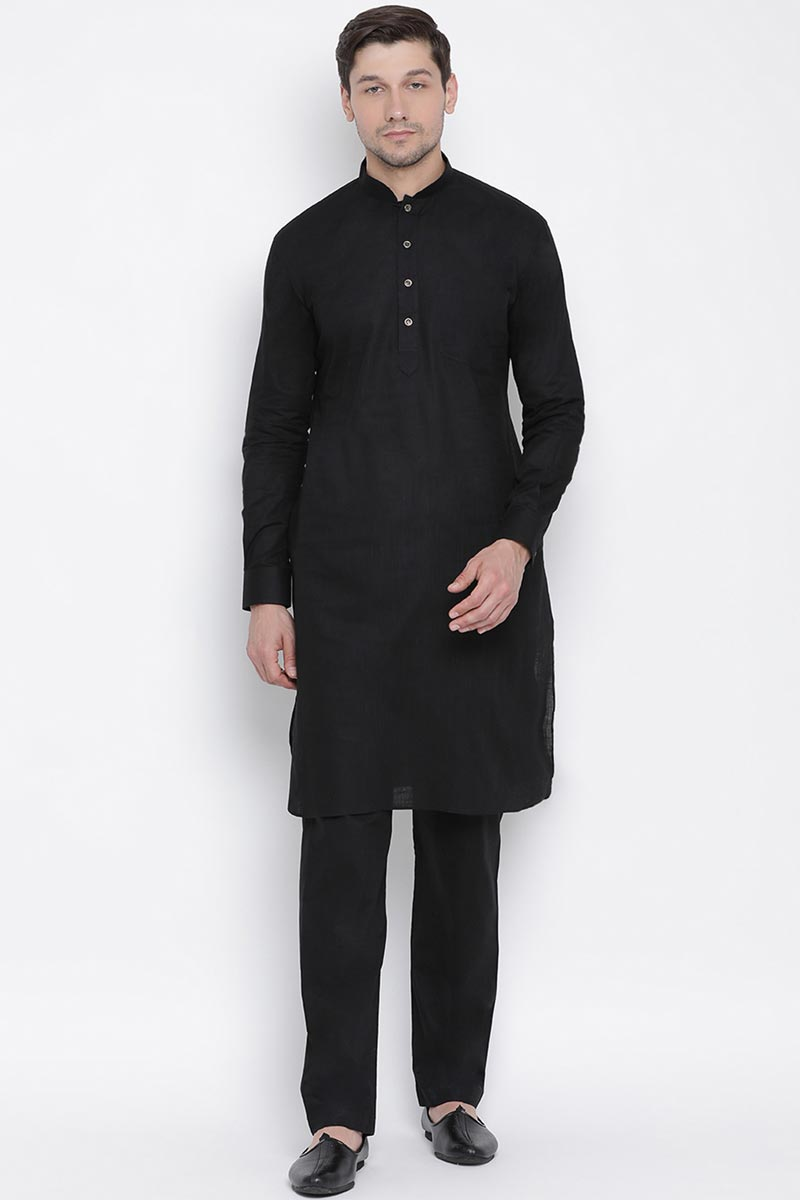 Black Color Mens Function Wear Dhupion Silk Fabric Kurta Pyjama