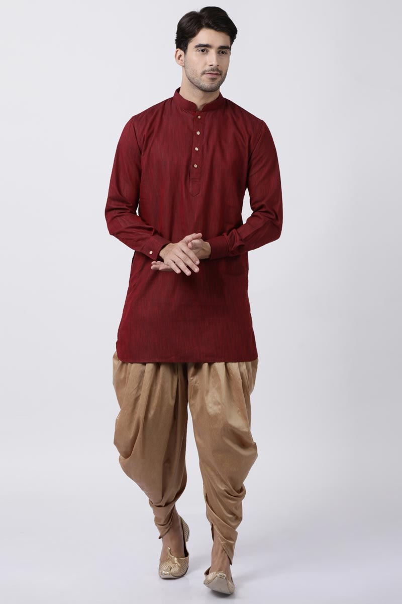 Function Wear Maroon Color Kurta With Dhoti Bottom For Men In Dhupion Silk Fabric