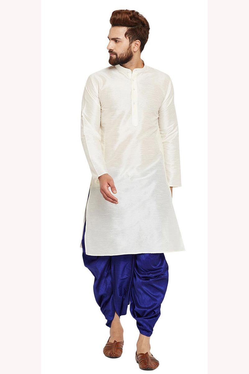 White Color Dhupion Silk Fabric Function Wear Mens Kurta With Dhoti Bottom