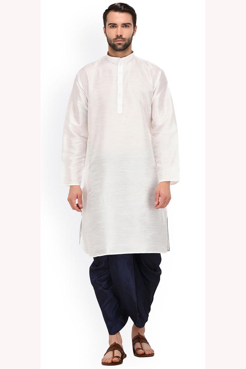 Dhupion Silk Fabric Function Wear White Color Designer Kurta With Dhoti Bottom