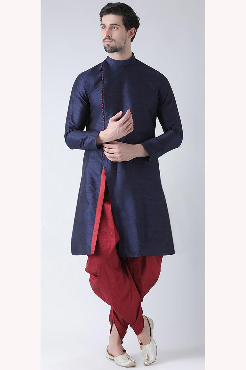 Mens Function Wear Navy Blue Color Dhupion Silk Fabric Kurta With Dhoti Bottom