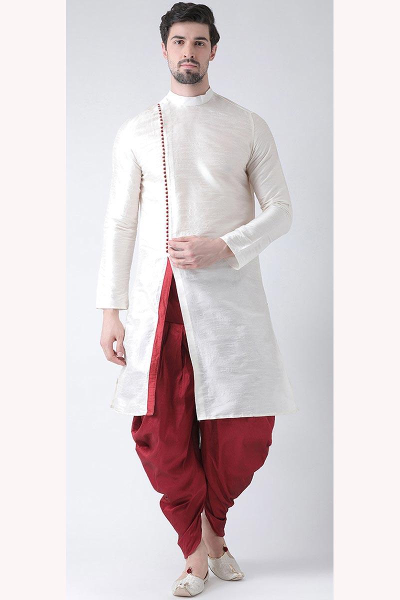 Dhupion Silk Fabric Mens Function Wear White Color Kurta With Dhoti Bottom